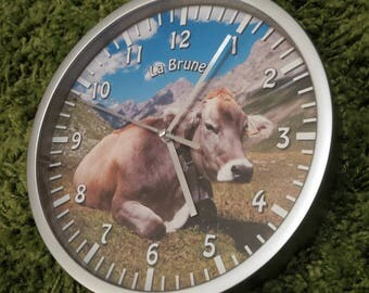 wall clock brown cow pattern