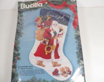 Vintage Felt Sequins Beads Applique Stocking Kit - Bucilla Felt Christmas Stocking Kit