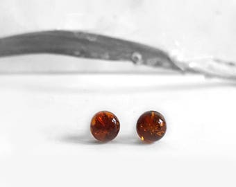 Small Studs, Round Amber Stud Earrings, Brown Amber Sterling Silver Post Earrings, Round Amber Studs, Everyday Jewelry