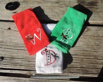 Monogrammed Embroidered Christmas Fingertip Hand Towels - Red, White, or Green
