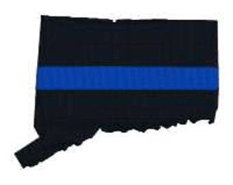 """BUY 2 GET 1 FREE - Connecticut Thin Blue Line Machine Embroidery Design in 3 Sizes - 3"""", 4"""", 5"""""""