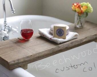 Rustic Bath Caddy/ Bathtub Tray/Wine Glass/Gift