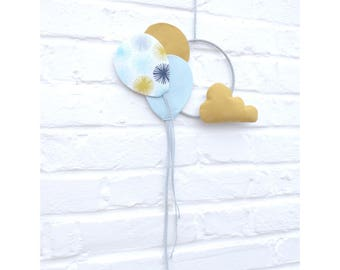 Blue balloons suspension and jaune_nuage_decoration baby boy, kids room