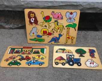 Vintage Wooden Puzzles - Vehicles, Wild Animals, Farm