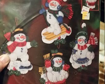 Plaid Bucilla Christmas Needlecraft Jeweled Holiday Ornaments, Winter Fun Snowmen by Maria Stanziani