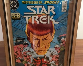 """Star Trek """"The Feeders of Spock"""" 1987 Comic Book with Wooden Comic Storage Box"""