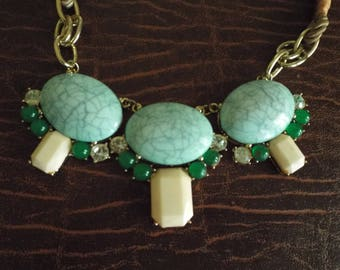 """22"""" long Necklace Unusual Necklace  Braided Gold Tone, Blue Green  - Statement Piece, Ethnic Jewelry, Vintage, Asian, Indian"""