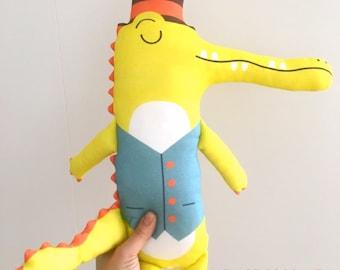 MR Crocodille handmade plushie organic cotton