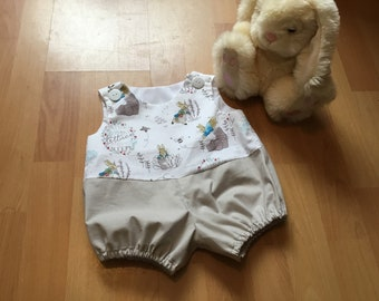 Baby bubble romper, Peter Rabbit romper, Easter gift, shower present, beatrix Potter, baby outfit.