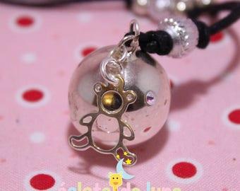 Pregnancy's Bola HarmonyBall genuine 925 sterling silver bear charm and rhinestone
