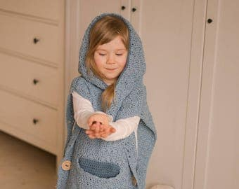 CROCHET PATTERN hooded poncho Maura with a pocket and buttons (toddler/child/adult sizes)