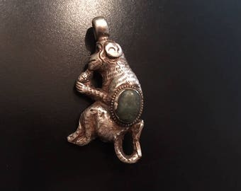 Sterling Nepalese Monkey Pendant with Turquoise Cabochon