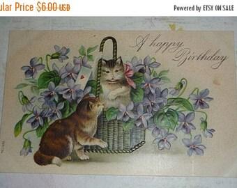 ON SALE till 7/28 Cats in a Basket of Violets Antique Birthday Postcard U/S Sperlich