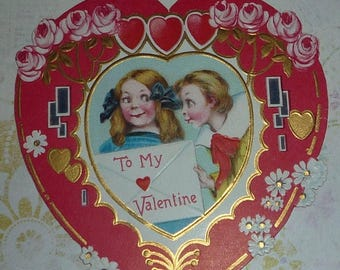 ON SALE till 7/28 Little Boy Give Valentine to Girl Antique Valentine Card