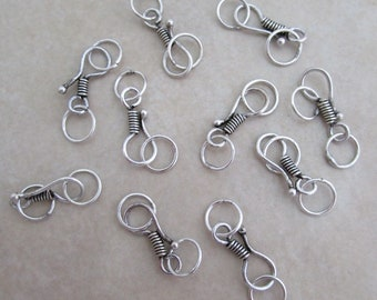 10 small sterling silver hook and eye clasps for delicate designs