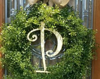 Monogram Boxwood Grapevine  Wreath