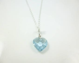 Blue Heart Necklace,  Heart Pendant, Sterling Silver Necklace, Heart, CZ Aquamarine Pendant, Dainty Necklace,