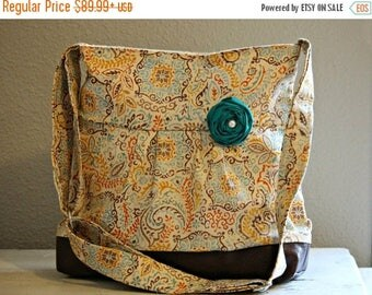CHRISTMAS SALE Concealed Carry Purse, Medium Messenger Bag, Fall Paisley, Conceal Carry Handbag, Concealed Carry Purse, Conceal and Carry Te