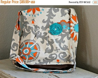 CHRISTMAS SALE Conceal Carry Purse, Medium Messenger Bag, Grey and Teal Medallion, Conceal Carry Handbag, Concealed Carry Purse, Conceal and