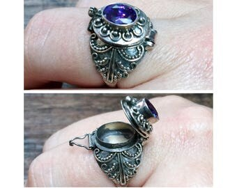 Amethyst + Sterling Silver 925 POISON Snuff Ring Size 9 1/4