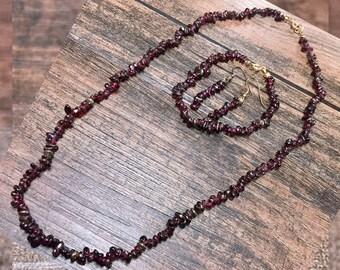 Vintage Bohemian Garnet Necklace, Garnet Bracelet, Garnet Earrings, matching set, beaded Gypsy, January birthstone
