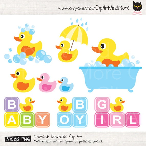 Yellow Rubber Duck Baby Shower Clipart Clip Art, Baby Boy Shower, Baby Girl Shower  Clipart   Personal And Commercial Use
