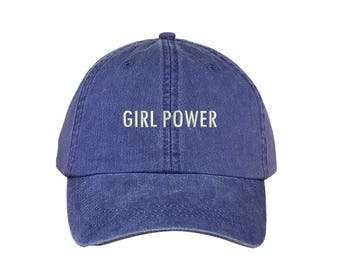 """GIRL POWER Washed Dad Hat, Embroidered """"Girl Power"""" Feminism Hat, Low Profile Girl Gang Feminist Baseball Cap Hat, Purple"""
