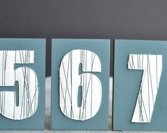 Blue Wood Number Sign. Painted Wood Sign. Number Six Sign. Family Number Sign. Number Six Sign. Family of Six. Blue Painted Number Sign.