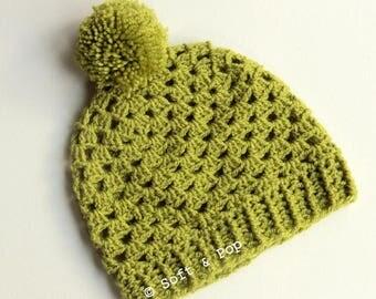 "Beanie granny ""slouchy"" crochet with tassel - Green"