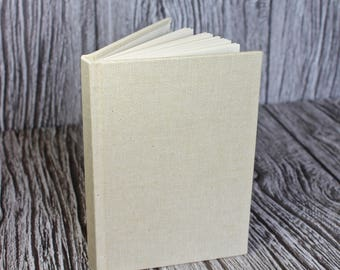Handmade A6 linen notebook – fully bound sand linen cloth