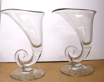 "Pair of Cambridge Cornucopia Vases 10"" Tall Clear Glass"