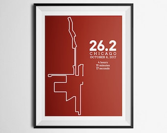 2017 Print of Chicago Marathon Route Abstract Map Gift
