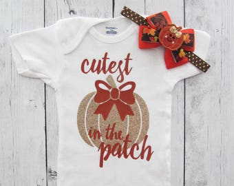 Cutest Pumpkin in the Patch Onesies - baby holiday outfit, pumpkin gold, first thanksgiving shirt, rust gold, pumpkin bow