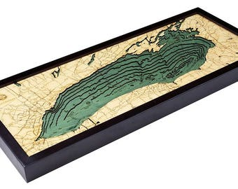 Lake Ontario Wood Carved Topographic Depth Map