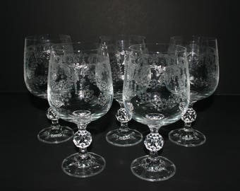 Vintage Wine Glasses / Goblets, Wedding design, etched, stemware, traditional, classic, toasting, barware