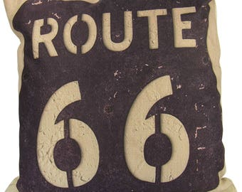 Route 66 Vintage Rusted Road Sign - Pillow Cover