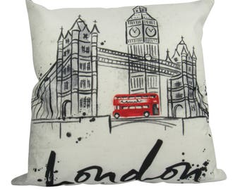 London - Red Bus, Big Ben British Scene - Pillow Cover