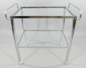Vintage 1960s Chrome Bar Cart / 60s Tea Cart / Mid-Century Serving Cart / Tiered Glass Shelves / MCM Midcentury Modern