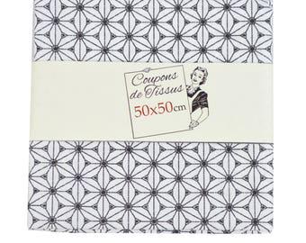 "Cut of fabric 100% cotton ""Fuji black / white"" 50cm X 50 cm"