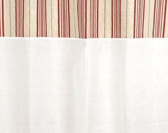 "150 X 250 ""red stripes"" with sheer + lace curtain"
