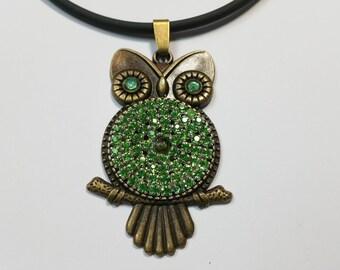 """Pendant """"Glitter Owl Green-Bronze"""""""
