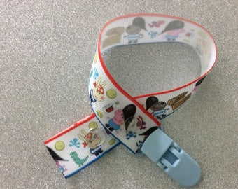Peppa pigs little brother George grosgrain ribbon dummy clip,with free Mam adapter.