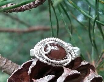 Chocolate Australian Opal Sterling Silver OOAK Wire Wrap Ring Size 8 / heady wire wrap ring / heady opal ring / opal birthstone ring / opal