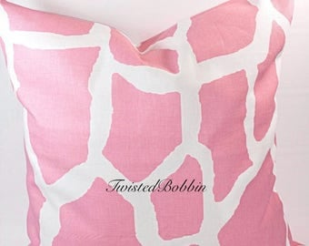 SALE Pink Pillow cover . Giraffe. Baby Pink and white pillow cover.18x18.Designer pillow. Pink cushion cover