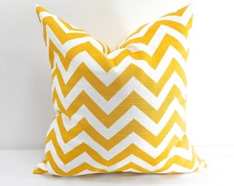 SALE Chevron Yellow Pillow case. Sham cover. yellow Chevron. Yellow and white,Zig Zag Cushion cover, Select your size.