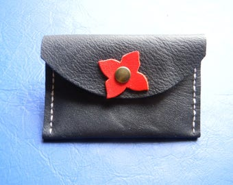 Clover Navy blue leather card holder