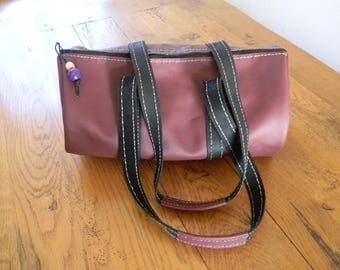 Handmade Burgundy and black leather duffel bag