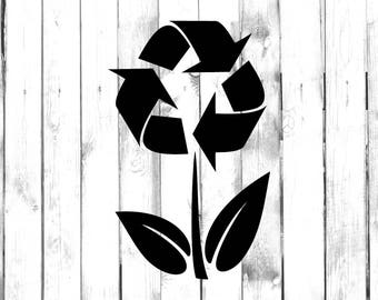 Recycle Flowers Decal - Di Cut Decal - Home/Laptop/Computer/Truck/Car Bumper Sticker Decal
