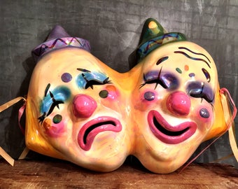 Theater Faces Ceramic Sad and Happy Face Colorful Wall Decor 1991