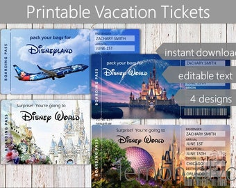 Disney Trip Tickets (Disney World / Disneyland) | Printable Disney Ticket | Digital Download | Surprise Disney Vacation | Boarding Pass